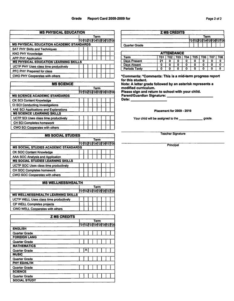 MadisonS Standards Based Report Card Example  SchoolinfosystemOrg
